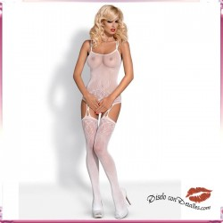 Bodystocking Negro y Blanco Medias y Top F206