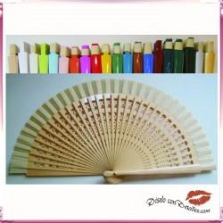 Abanicos Madera Colores Lisos 19 cm
