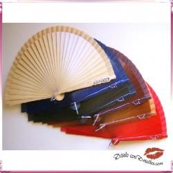 Abanicos de Madera con Brillitos 21 cm