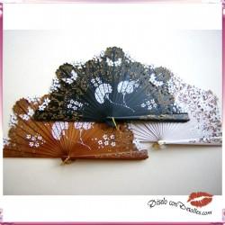 Abanicos Baraja con Flor Biznaga 22 cm