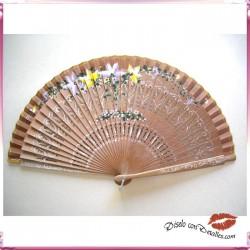 Abanicos de Madera de Peral Pulido y Pintado a Dos Caras 23 cm