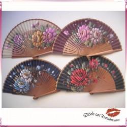 Abanicos de Madera de Peral con Flores 23 cm