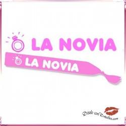 """Banda Rosa rotulada """" LA NOVIA"""""""