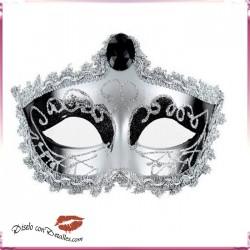 Mascara Veneciana Acabado Plateado