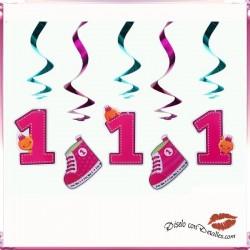 5 Cintas Decorativas Primer Año Rosa