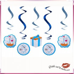 5 Cintas Decorativas Fiestas Infantiles Azul
