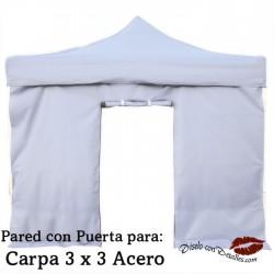 Pared Blanca con Puerta para Carpa Acero 3x3