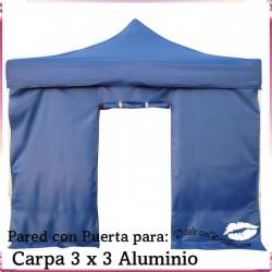 Pared Azul Puerta para Carpa Aluminio 3x3 Mt