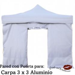 Pared Blanca Puerta para Carpa Aluminio 3x3 Mt