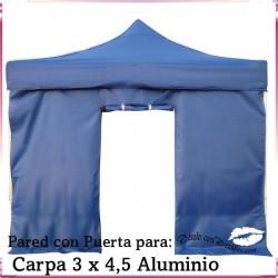 Pared Azul con Puerta Carpa Aluminio 3x4,5 Mt