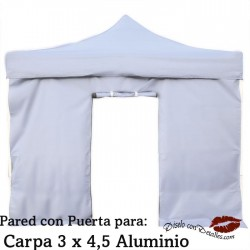 Pared Blanca con Puerta Carpa Aluminio 3x4,5 Mt