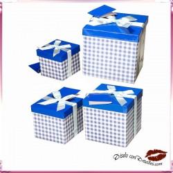 Cajas Vichy azules 4 Tamaños