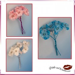 Flores de Tela con Brillo 6 uds