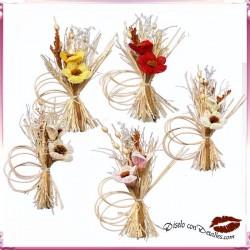 Ramalhetes com 2 Flores e Tecido de Saco