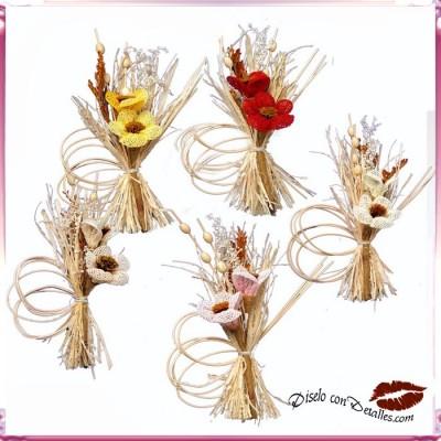 Ramilletes con 2 Flores y Vime