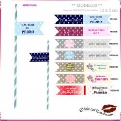 Banderines Adhesivos para Pajitas 12x2 cm 30 Uds