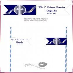 Banderines Adhesivos para Pajitas Azul 12x2 cm
