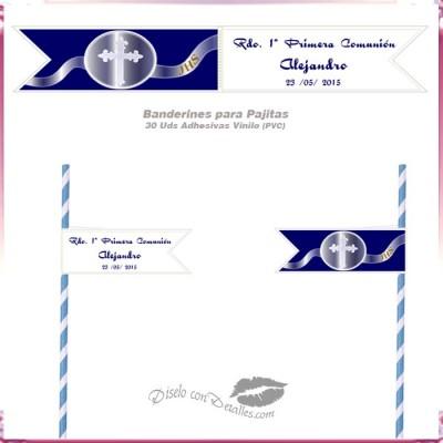 Banderines Adhesivos para Pajitas Cruz 12x2 cm