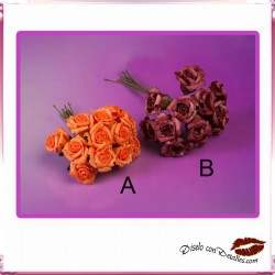 Ramillete con 12 Rosas Naranjas o Granates