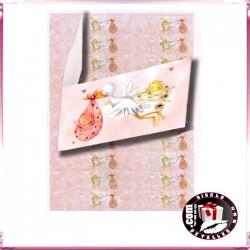Tarjetas de Cigüeña Rosa 20 uds