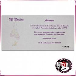 Invitación Bautizo Patucos Rosas