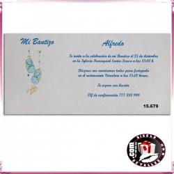 Invitación Bautizo Patucos Azules