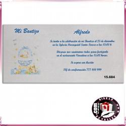 Invitación Bautizo Niño con Carrito de Bebé