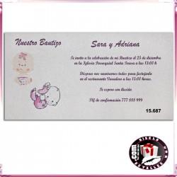 Invitación Bautizo Pareja de Niñas