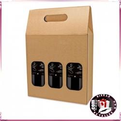 Cajas Cartón Ventana para 3 Botellas
