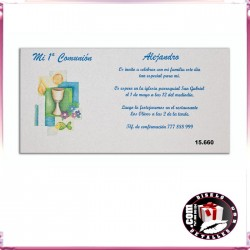 Invitación Comunión con Cáliz y Vela