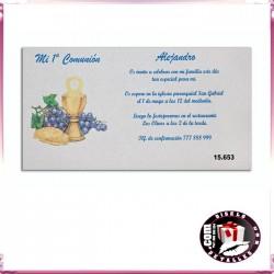 Invitación de Comunión con Cáliz y Uvas