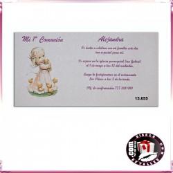 Invitación de Comunión con Niña y Patitos