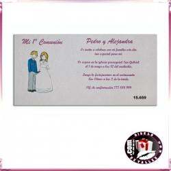 Invitación de Comunión con Niño y Niña Comunión