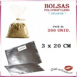 Bolsa de Celofán 3 x 20 cm (200 Uds)