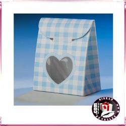Cajas Azules con Ventana Corazón 6 x 8 cm
