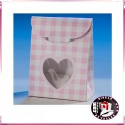 Cajas Rosas con Ventana Corazón 6 x 8 cm