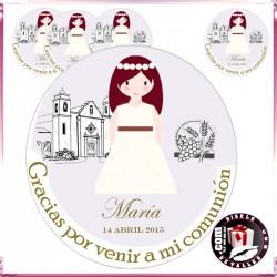 Adesivo Vinil Redondo Menina Comunhão 6 cm