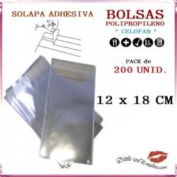 Bolsa Celofán Solapa Adhesiva 12 x 18 cm (200 Uds)