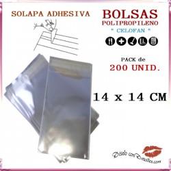 Bolsa Celofán Solapa Adhesiva 14 x 14 cm (200 Uds)