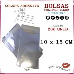 Bolsa Celofán Solapa Adhesiva 10 x 15 cm (200 uds)