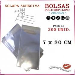 Bolsa Celofán Solapa Adhesiva 7 x 20 cm (200 Uds)