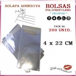 Bolsa Celofán Solapa Adhesiva 4 x 22 cm (200 Uds)