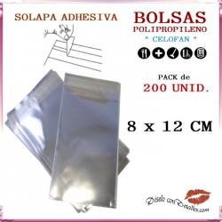 Bolsa Celofán Solapa Adhesiva 8 x 12 cm (200 Uds)