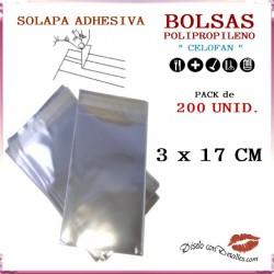 Bolsa Celofán Solapa Adhesiva 3 x 17 cm (200 Uds)