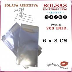 Bolsa Celofán Solapa Adhesiva 6 x 8 cm (200 Uds)