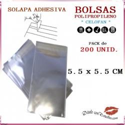 Bolsa Celofán Solapa Adhesiva 5.5 x 5.5 cm (200 Uds)