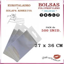Bolsa Celofán Solapa Adhesiva, Refuerzo y Eurotaladro  27  x 36 cm (500 Uds)