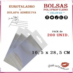 Bolsa Celofán Solapa Adhesiva, Refuerzo y Eurotaladro  10.5  x 28.5 cm (200 Uds)