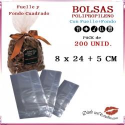 Bolsa Celofán con Fondo cuadrado y Fuelle 8 x 24 + 5 cm