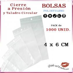 Bolsas Autocierre con Taladro Circular 4 x 6 cm (1000 uds)